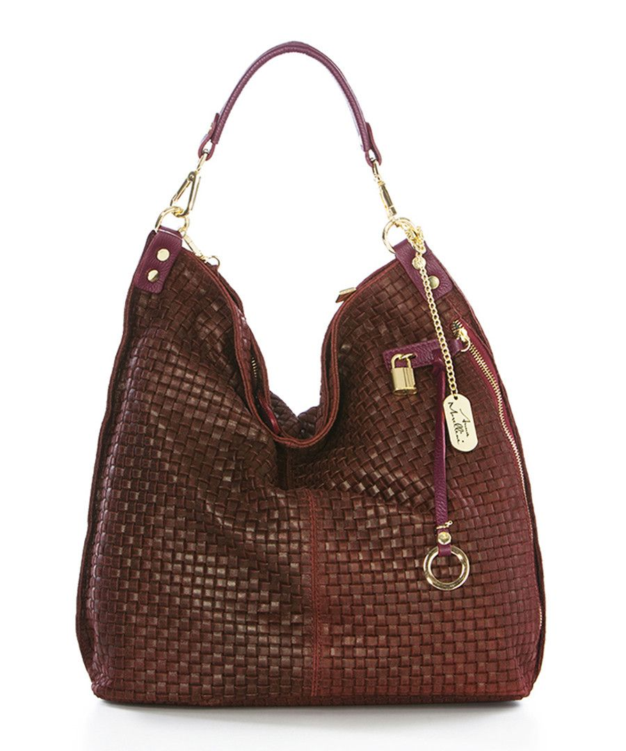 Red leather weave toggle slouch bag Sale - Anna Morellini  c1df601f65f48