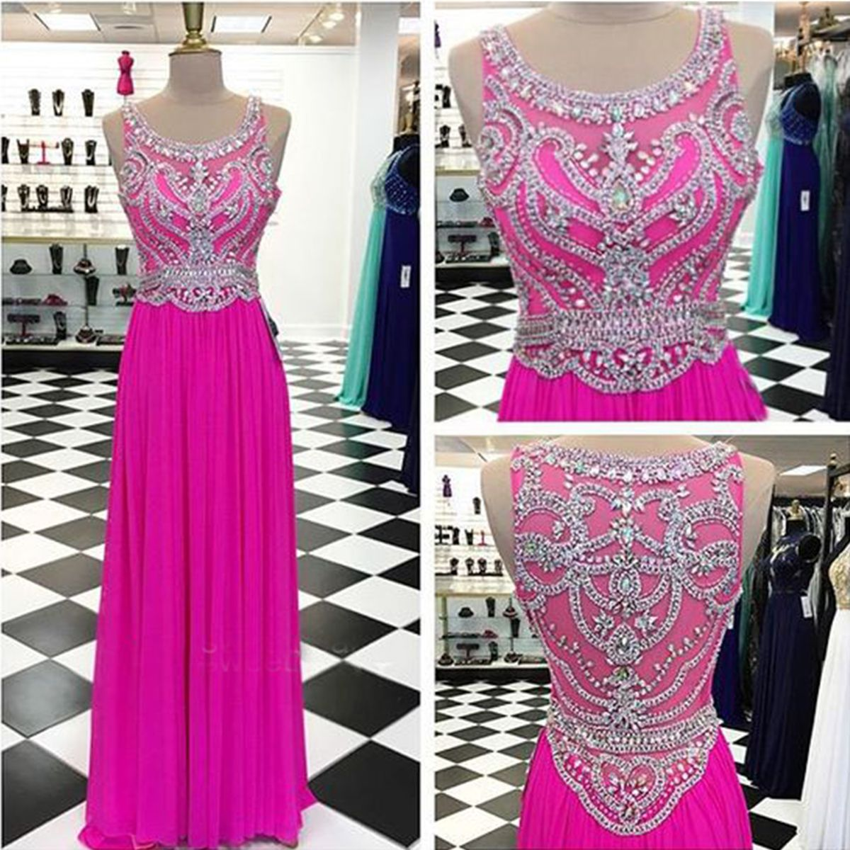 Chiffon prom dress, formal dress, stunning beaded rosy chiffon floor ...