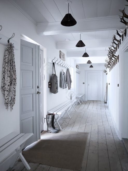 Hallway Hooks love the long hall createdthe beams going vertical rather than