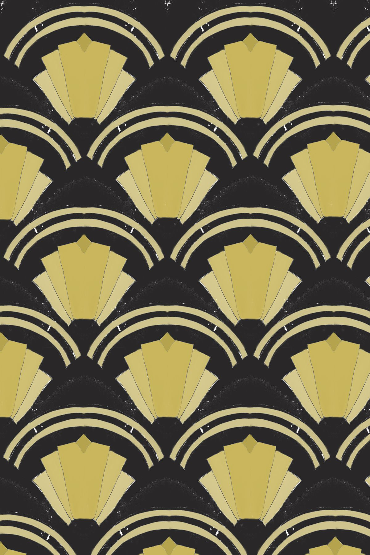 Art Deco style wallpaper harrawaydesign Gold and black represent