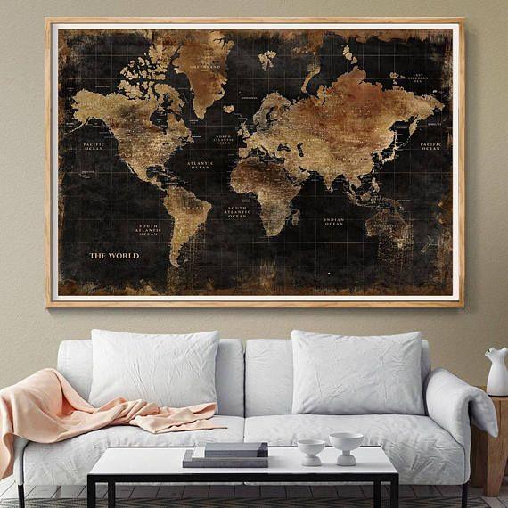 Huge Classic Black World Map Vintage Elegant Home Decor Home - Huge classic world map