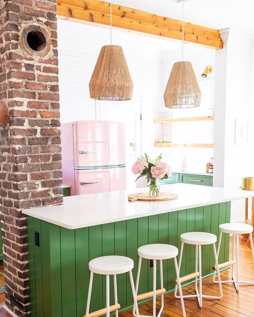 442 Likes 12 Comments Big Chill Bigchillappliances On Instagram Boho Rosa House Sending You Some Bright And Colorful Retro Kitchen Happy Kitchen Home