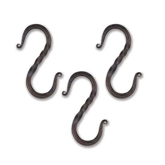 Hand Forged Iron Large Medieval S Hooks Set Of 3 Hand Forged Iron Forged Iron Hand Forged