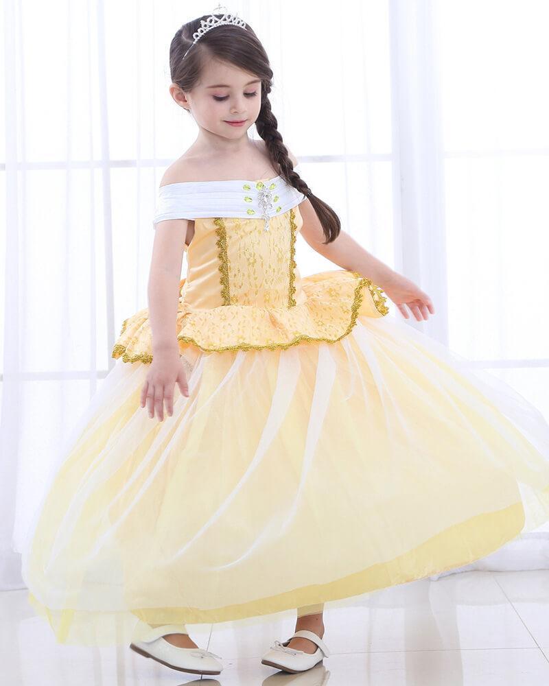 a618ff97c77 Belle Princess Dress Yellow Ball Gown kid School Play Girls Costume –  FADCOVER