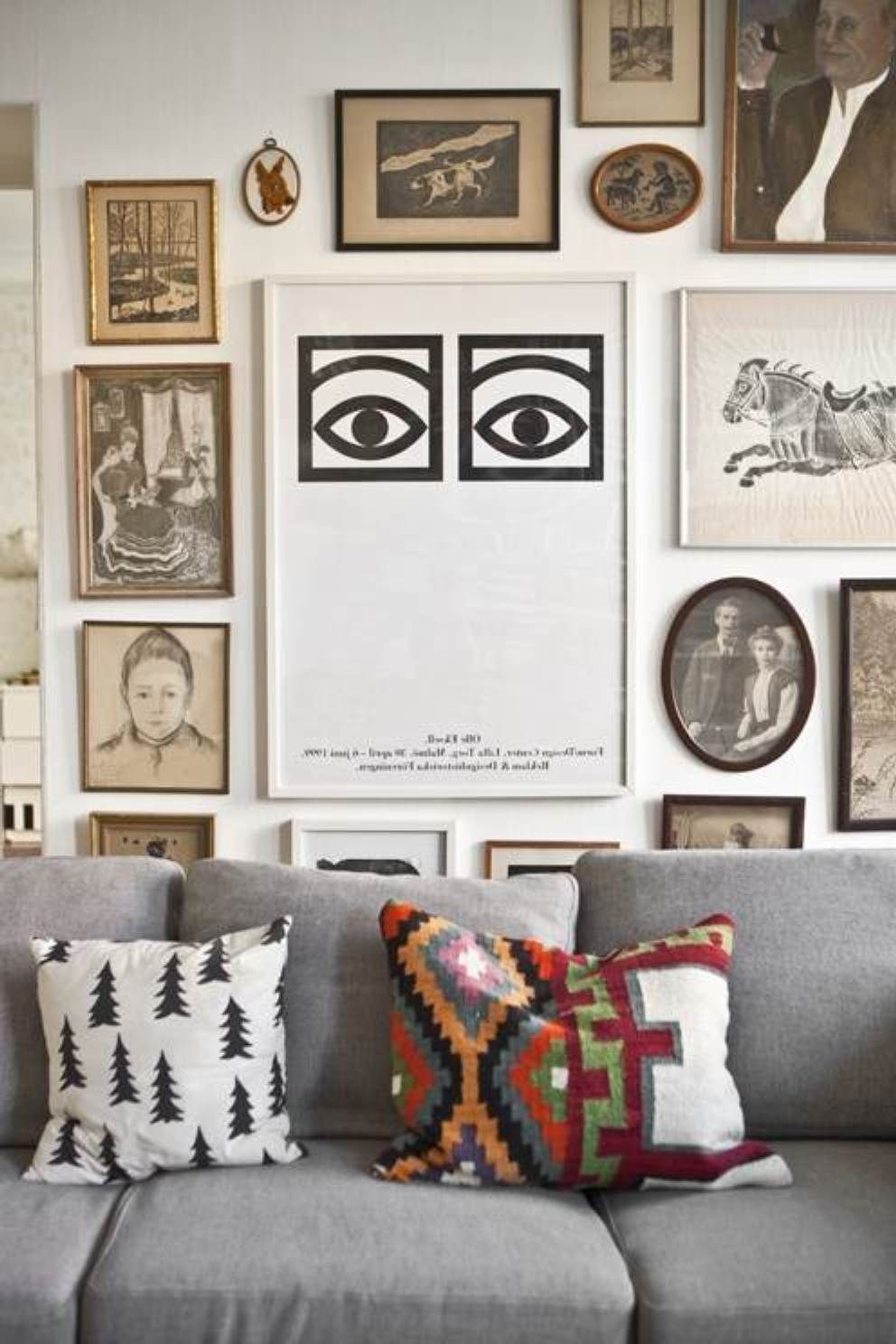 Decoration Unique Wall Art Ideas With Tribal Printed Toss Pillows For Afrian Themed Living Room Modern Grey Sofa Cool Any Rooms In