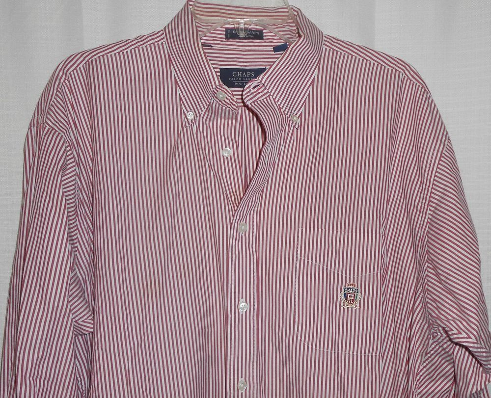 CHAPS RALPH LAUREN Button Up Dress Shirt - Men Sz 16 1/2 Red Stripe Long Slv #ChapsRalphLauren #DressShirt