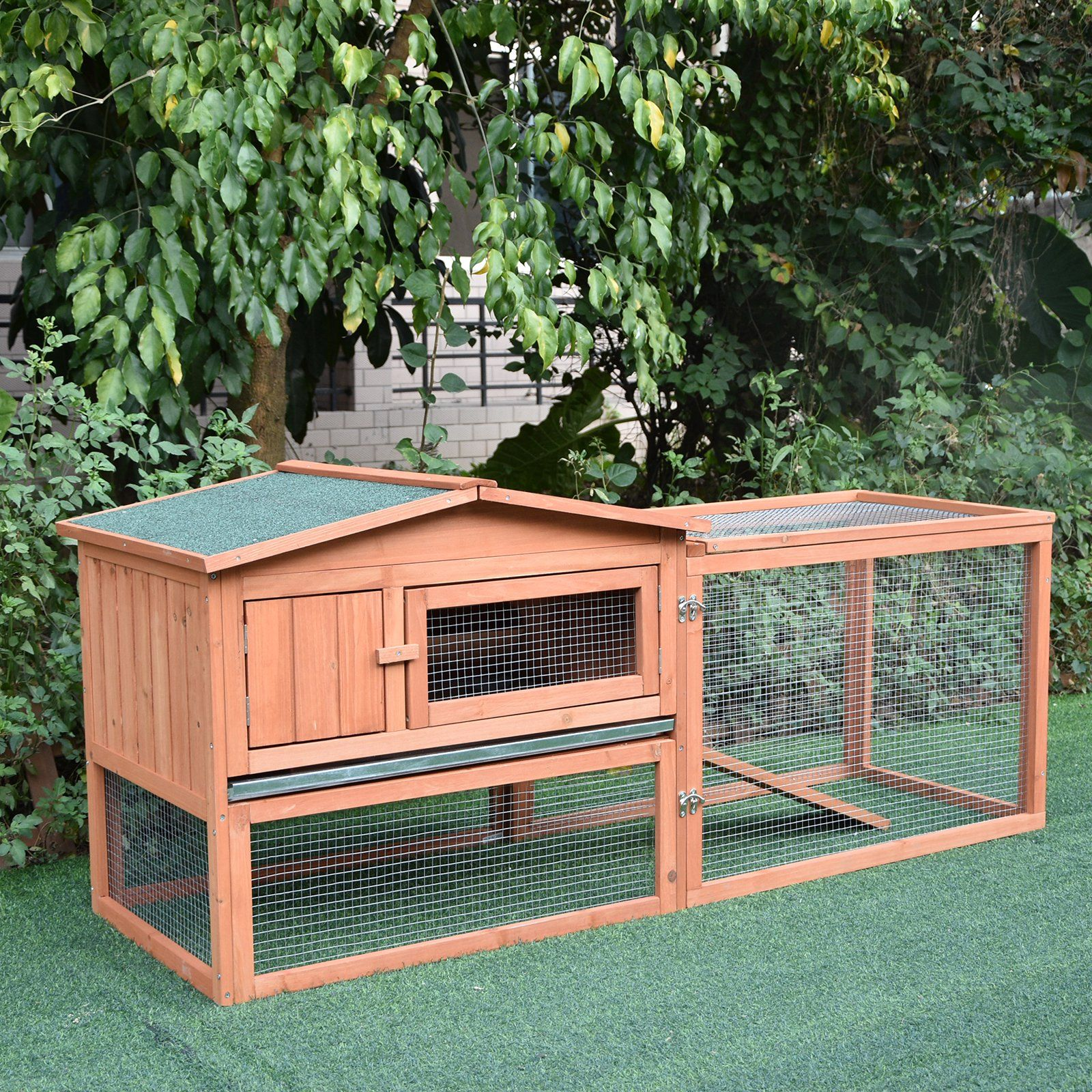 Pawhut 62 Wooden Outdoor Guinea Pig Pet House Rabbit Hutch Small Animal Habitat With Detachable Run And Elevated Main House Walmart