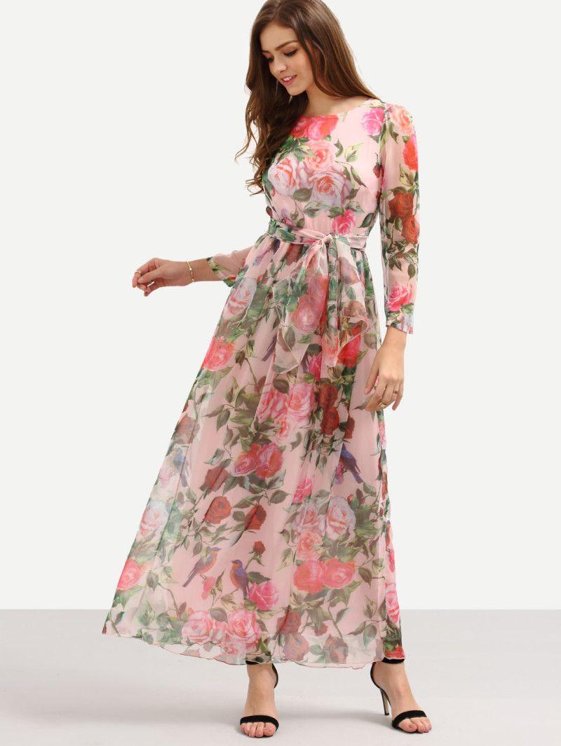 Selftie rose print long sleeve chiffon dress pink maxi dress