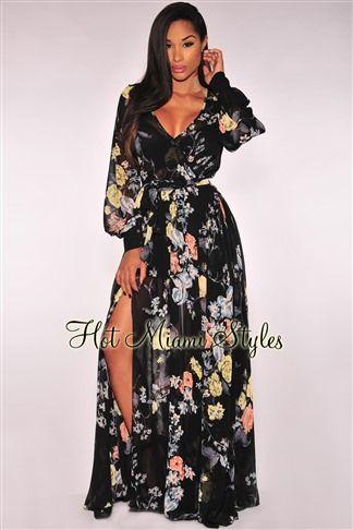 8fee0cdc2 Black Floral Print Faux Wrap Slit Maxi Dress | Classy | Black floral ...