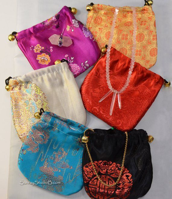 63e4e91ac598f SILK GIFT BAG with Drawstring, Satin Gift Bag sold by color for jewelry,  gemstones, crystal, Brocade
