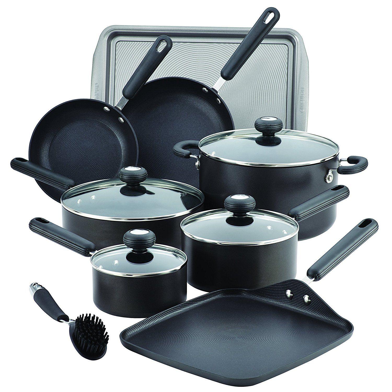 Circulon 13 Piece 2 Hard-Anodized Nonstick Cookware Set, Black ...