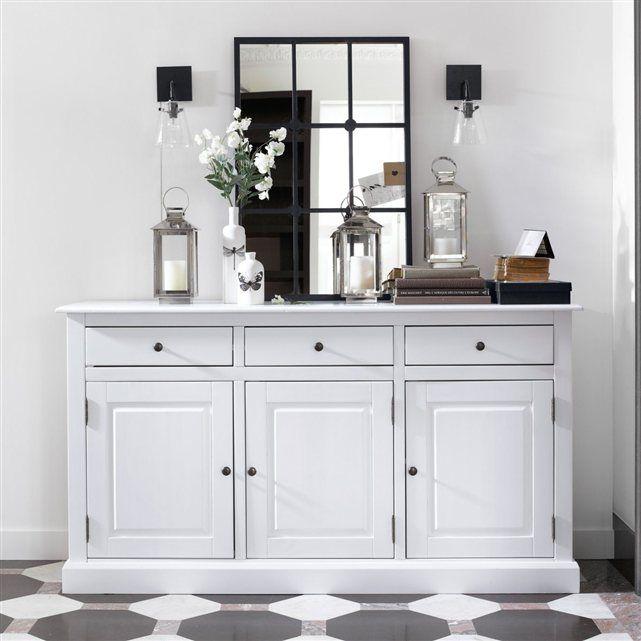 Buffet 3 portes 3 tiroirs pin massif coloris blanc authentic style la redoute interieurs - Meubles authentic style la redoute ...