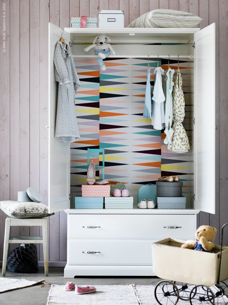 mommo design: 4 DIY  for a white wardrobe - Coat the inside with colorful wallpaper