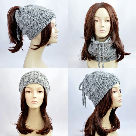 Gray Ponytail Hat Scarf, Ponytail Beanie, Transformer Hat, Hat with ...
