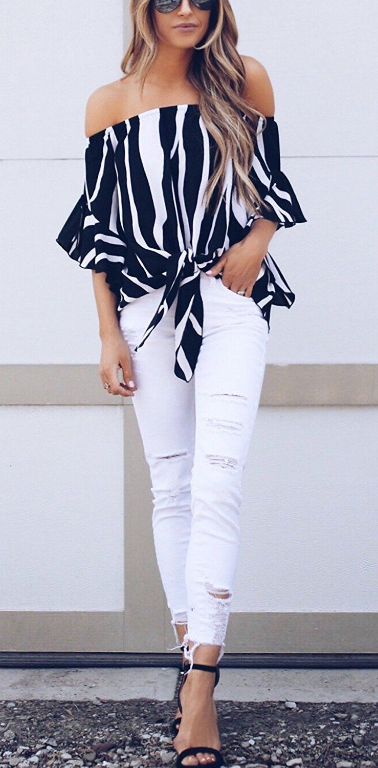 411e9c5f692ed8 Asvivid Women s Striped Off Shoulder Bell Sleeve Shirt Tie Knot Casual  Blouses Tops at Amazon Women s Clothing store Zebra Print