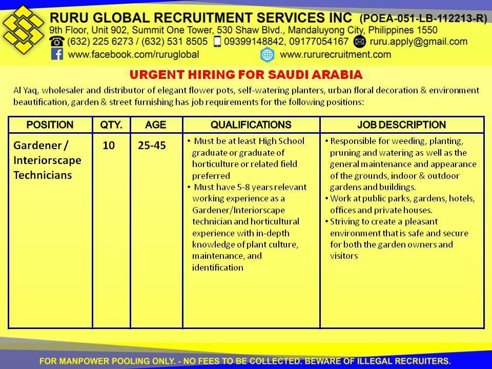 Hiring for Saudi Arabia Gardener / Interiorscape
