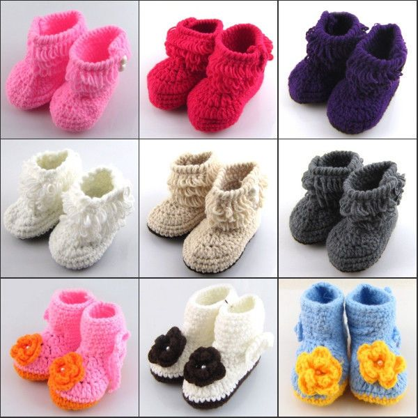 21986569a Baby Newborn Girl Infant Soft Warm Socks Crib Casual Crochet Knit Boots  Shoes  Unbranded  Boots