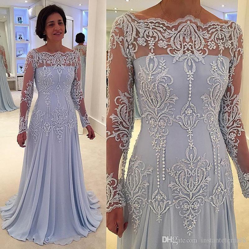 Elegant Long Sleeve Mother Of Bride Dresses Lace Applique Cheap