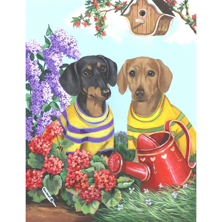 Precious Pet Paintings 1 5 Ft X 1 04 Ft Dachshund Spring Flag