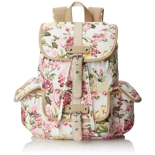 f3bce9970 Wild Pair Floral Canvas With Glitter Trim Backpack Handbag featuring  polyvore, fashion, bags, backpacks, accessories, purses, white floral  backpack, ...