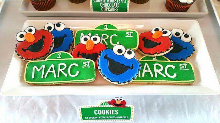 Elmo Cookie Monster Sesame Street Sign Cookies Elmo Birthday