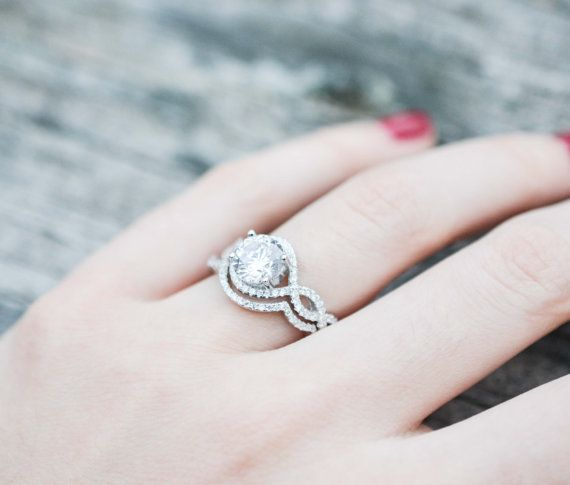 infinity halo engagement ring round brilliant ring halo wedding ring set round cut halo ring sterling silver ring - Halo Wedding Ring Set