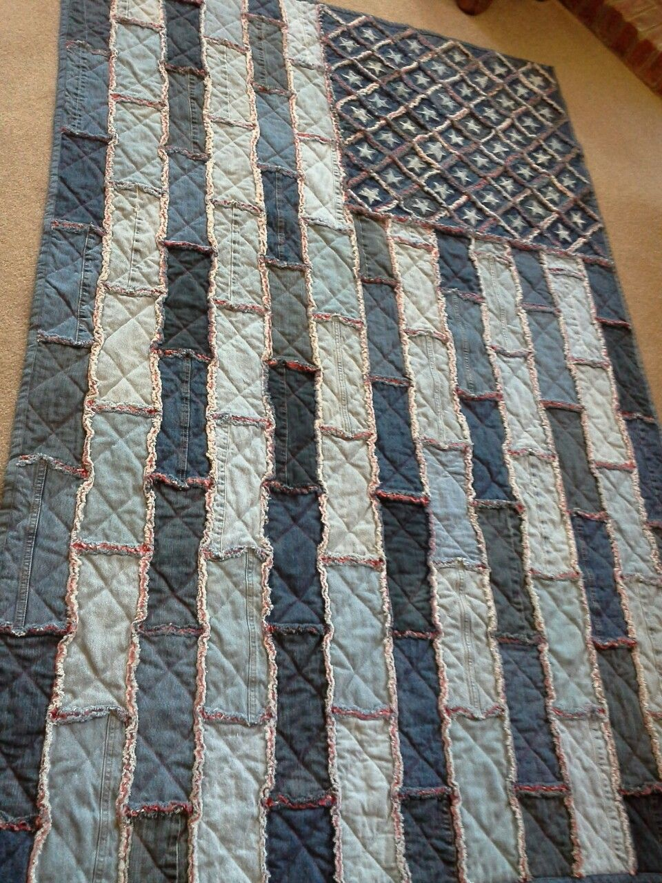 Denim Flag Quilt From Old Jeans Red White Blue Blue