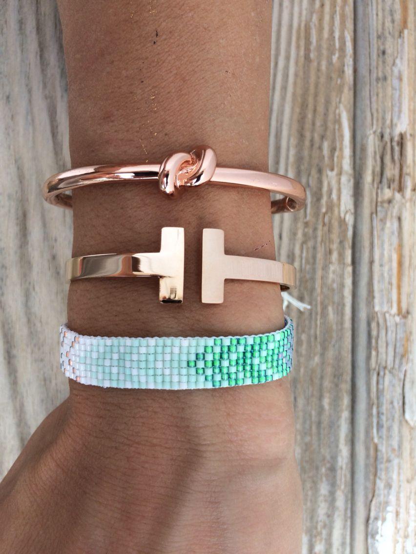 rainbow beadloom bracelet, loveknot bangle and t bracelet from Bonk Ibiza