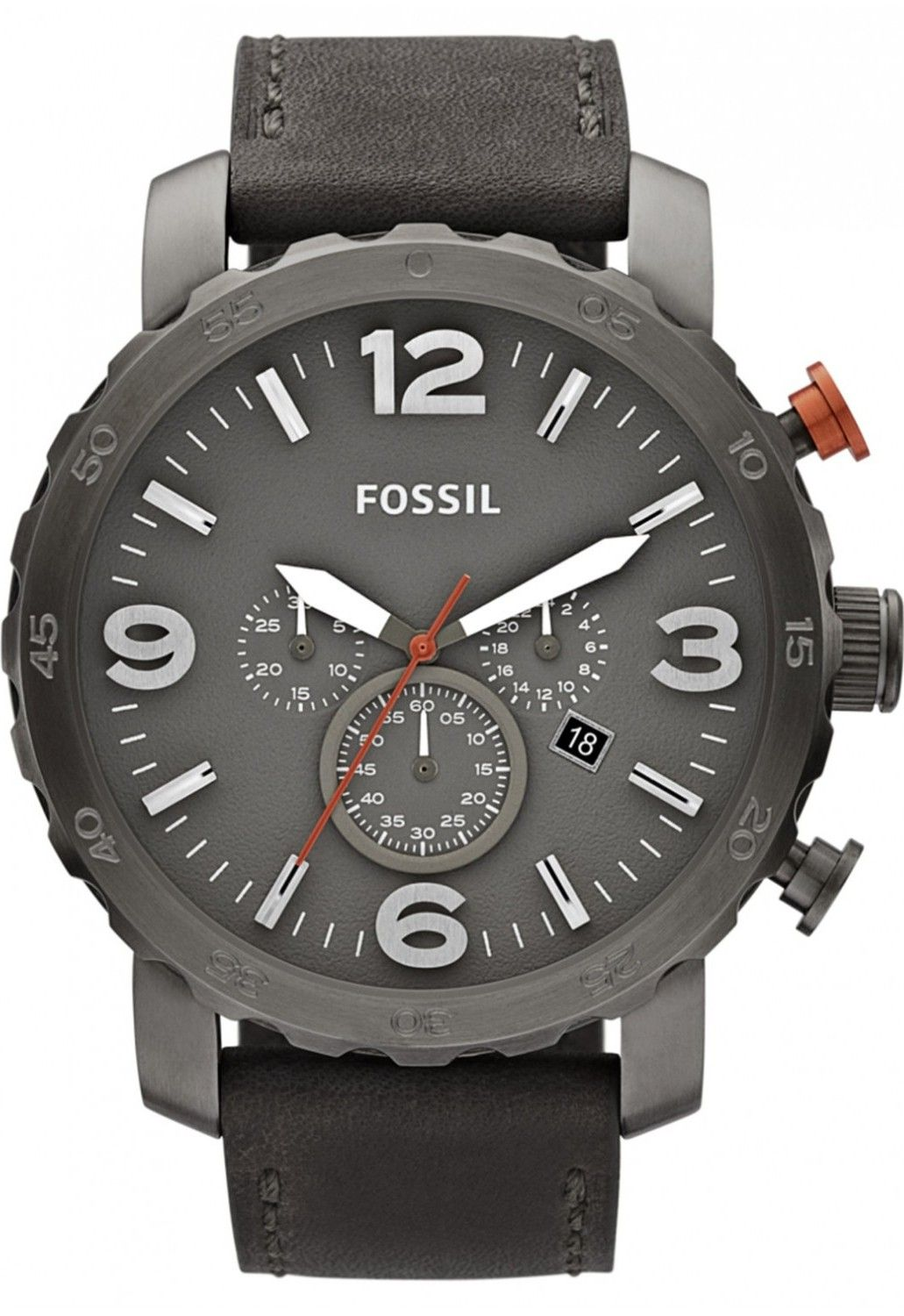 fb931c46672d FOSSIL Nate Chronograph Leather Watch - Grey    119.95   Fossil Watch Men  Chronograph