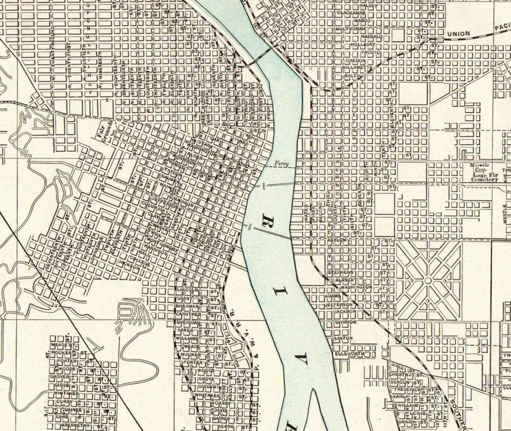 1903 Antique PORTLAND City Map Vintage Map of Portland ...