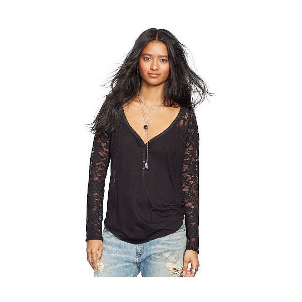 Ralph Lauren Denim & Supply  Lace Raglan-Sleeved Henley ($50) ❤ liked on Polyvore featuring tops, lace back top, lace back shirt, raglan sleeve top, ralph lauren and long lace top