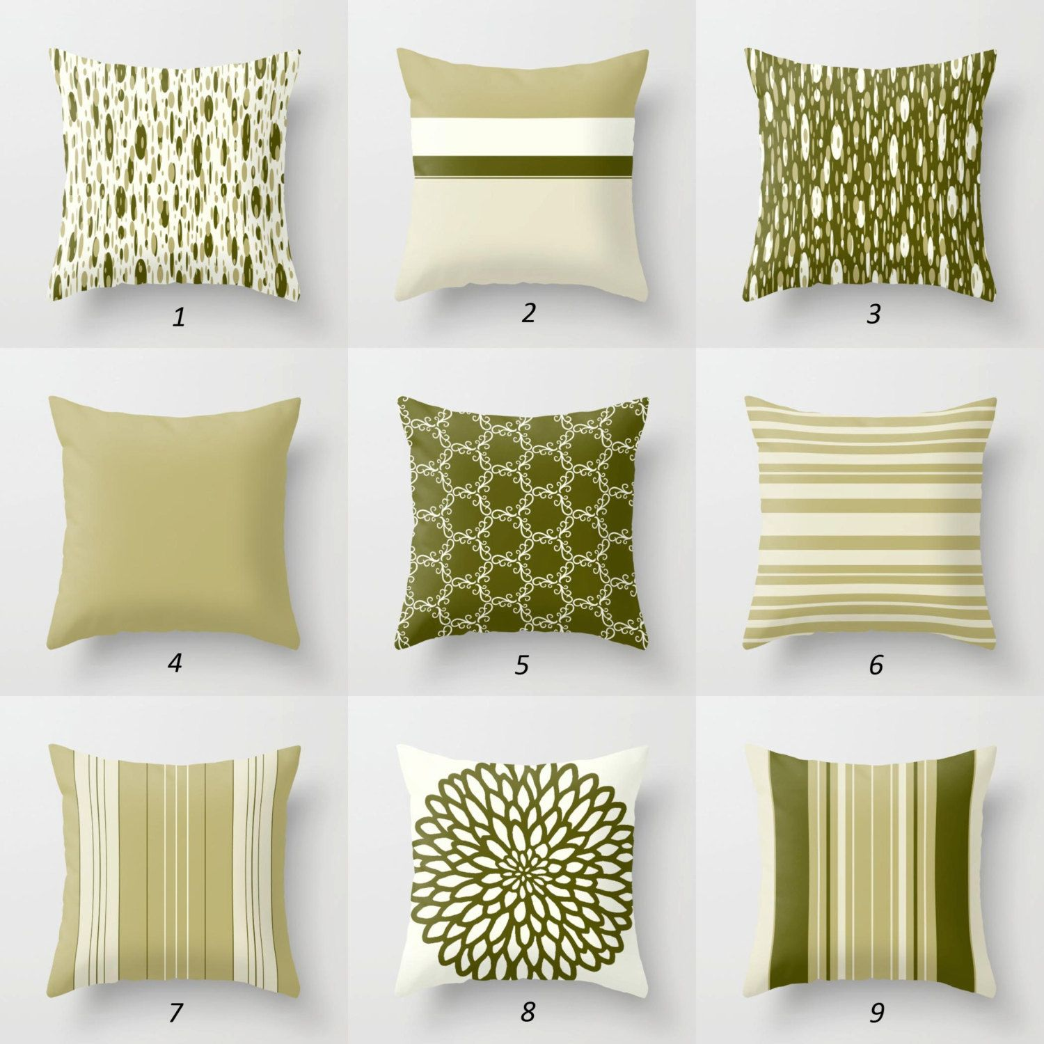 Olive Green Pillow Covers Dark Green Throw Pillows Striped Etsy Green Pillow Covers Olive Green Pillow Green Throw Pillows