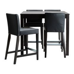 Bjursta Henriksdal Bar Table And 4 Bar Stools Robust Black Interesting Small Dining Room Sets Ikea Inspiration