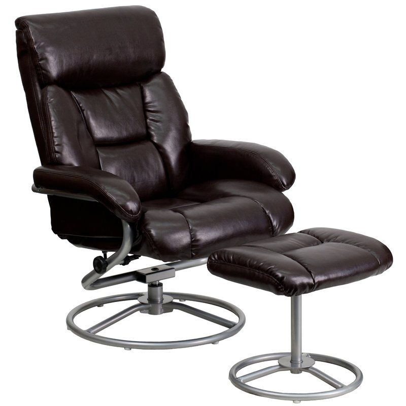 Multi Position Manual Swivel Recliner With Ottoman Brown Leather