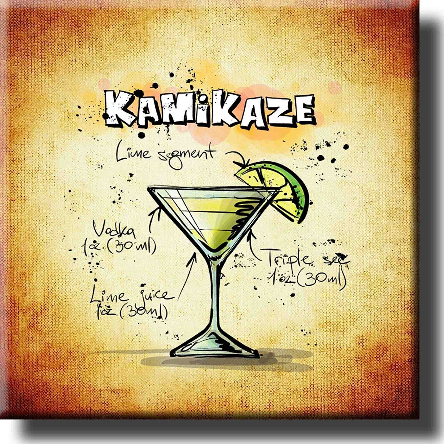 Kamikaze Cocktail Recipe Drink Picture on Stretched Canvas, Wall Art ...