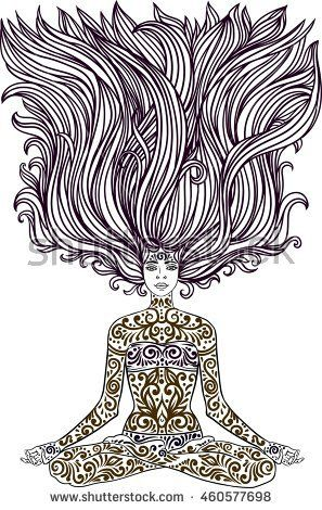 c3836f223192b Woman sitting in meditation yoga lotus pose with Tattoo mehendi zentangle  ornamental vintage body-art pattern. Vector illustration. Coloring