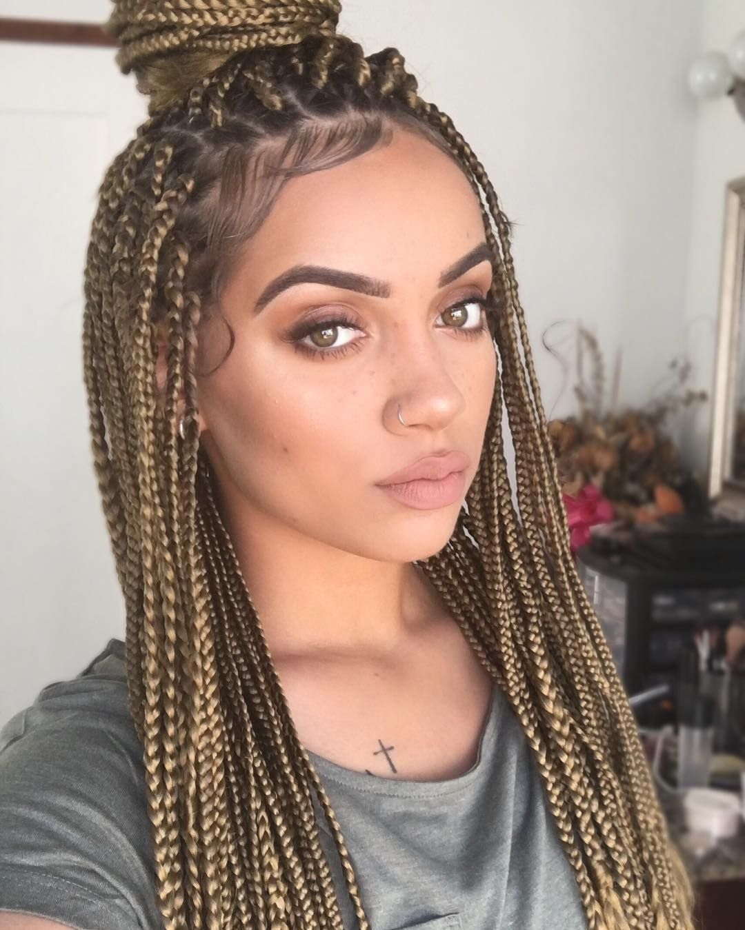 brown blonde box braids | M A N E | Pinterest | Blonde box ...