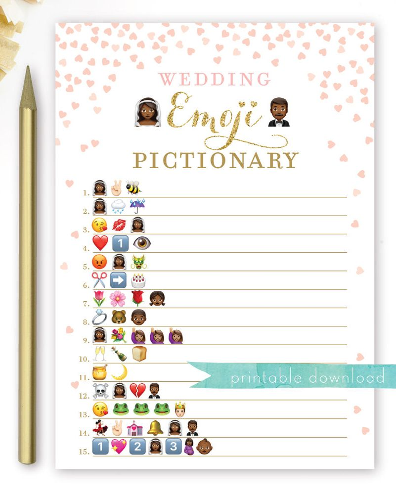 excited to share the latest addition to my etsy shop bridal shower emoji wedding emoji pictionary game african american pink and gold