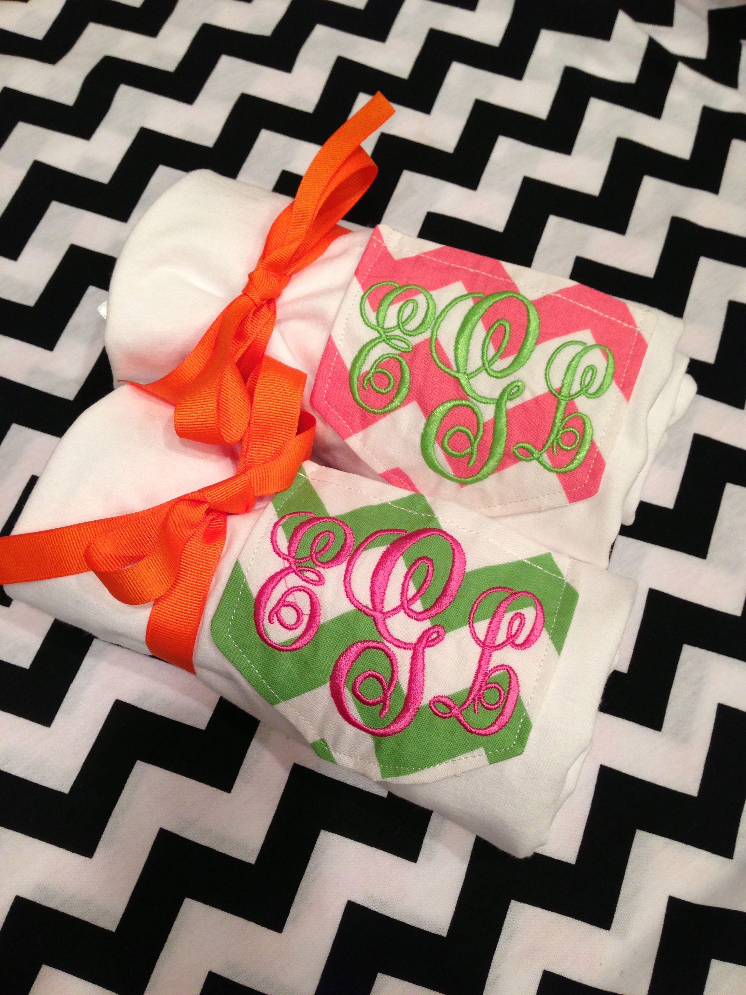 $22 Monogram Chevron Pocket Tshirt by the PinkyGirl! order online at www.thepinkygirl.com