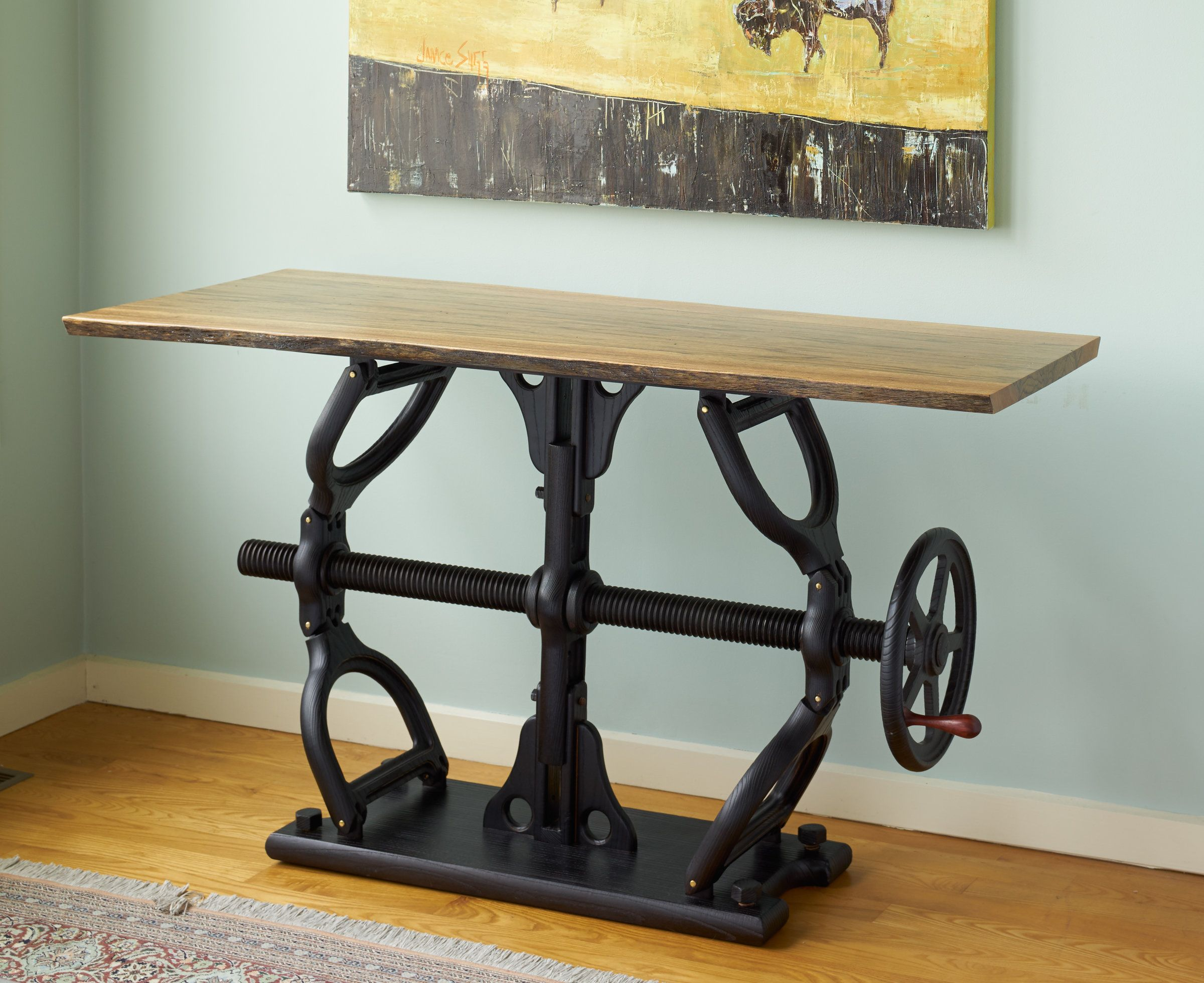 Crank Table By James Pearce Wood Console Table Organic Shapes  # Muebles Estilo Pearce