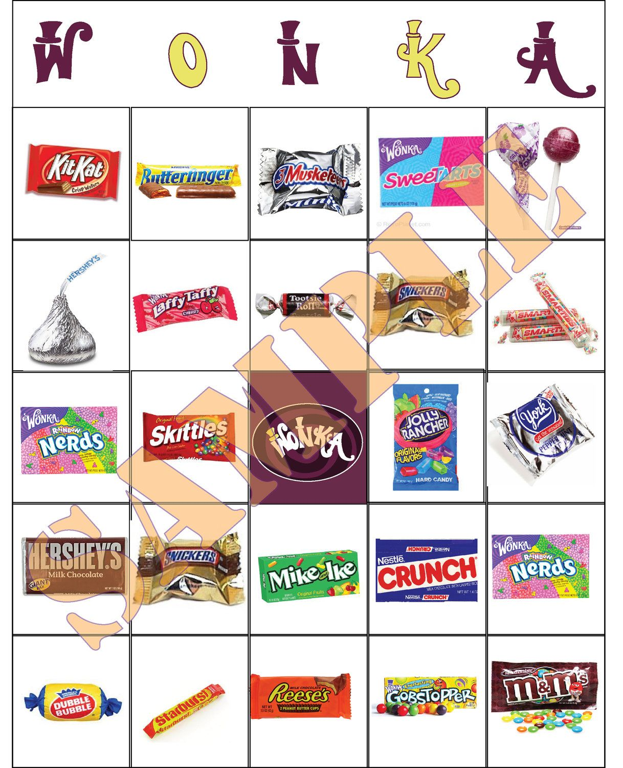 Willy Wonka Candy Bingo Party Game Cards