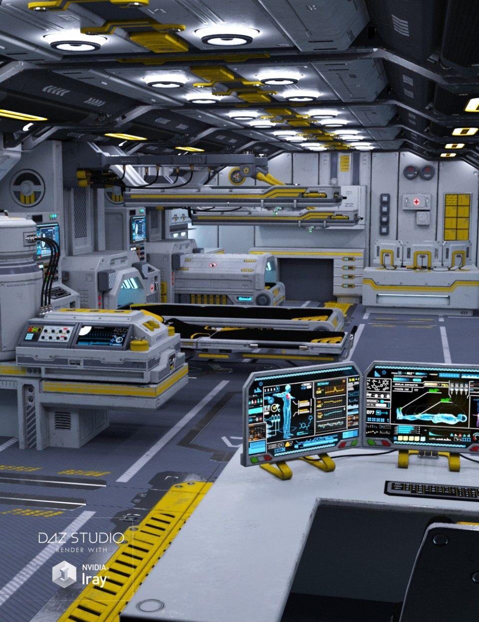 Psi medbay daz poser in 2019 futuristic interior for Sci fi decor
