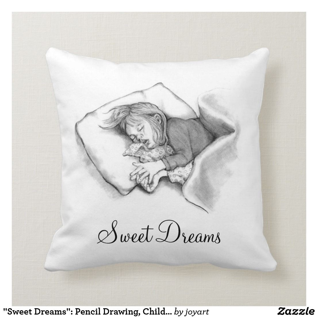 Sweet Dreams Pencil Drawing Child Sleeping Throw Pillow