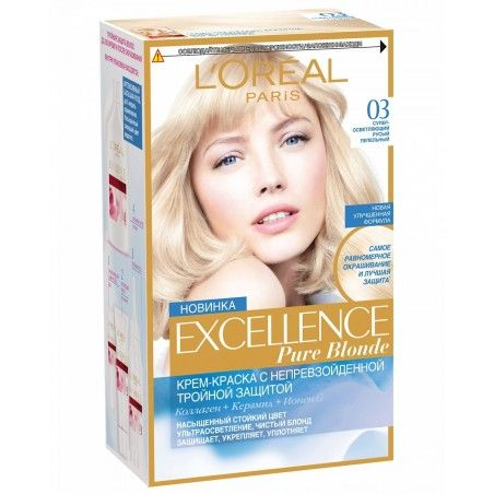 03 Ultra Light Ash Blonde permanent hair color L'Oreal Excellence Creme #lightashblonde