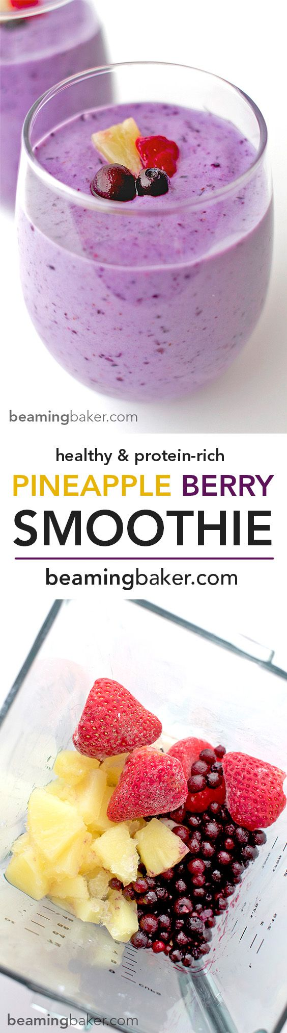 Refreshing, sweet, protein-packed Pineapple Berry Smoothies: made with Greek yogurt, strawberries, blueberries and almond milk, these smoothies are the perfect fruity boost. BEAMINGBAKER.COM #healthy #gymfuel #fruitsmoothie