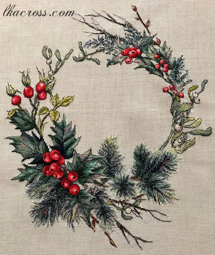 Cross stitch pattern Christmas wreath in 2018 | Finished works by my ...