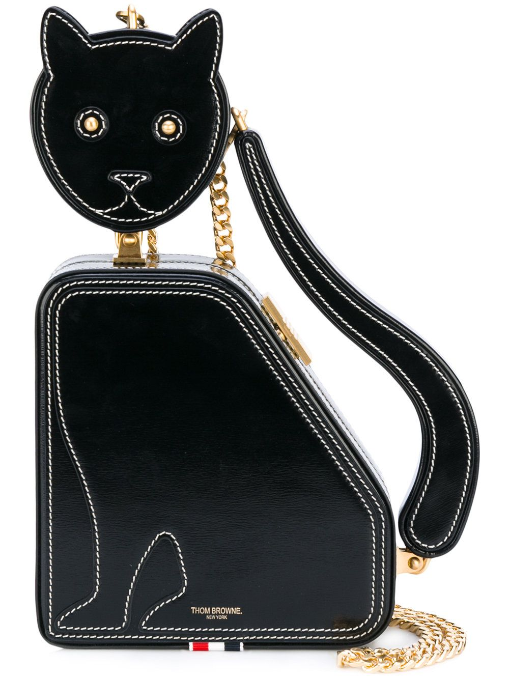 05933dfe1 Thom Browne Cat Bag With Chain Shoulder Strap In Calf Leather