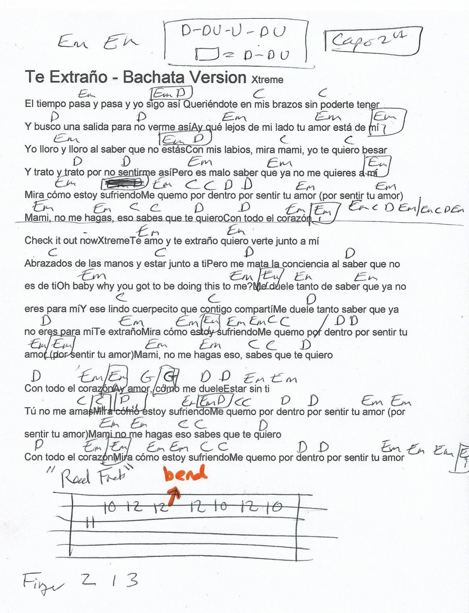 Te Extrano (Xtreme) Guitar Chord Chart - Capo 2nd Fret ...