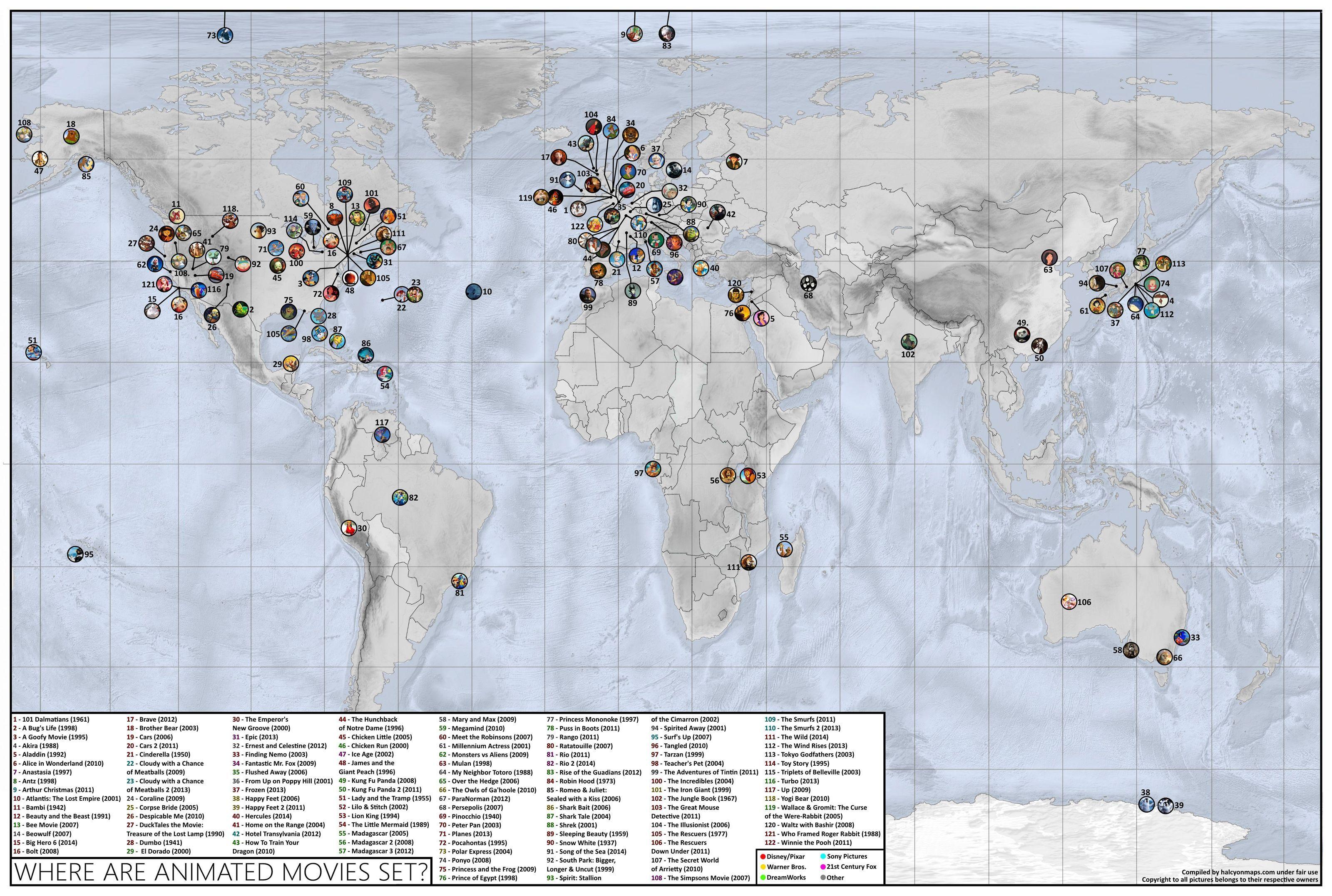 Découvrez la carte mondiale des dessins-animés - page 1- GamAlive
