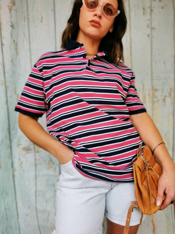 90 S Vintage Striped Oversize Cotton Unisex Polo T Shirt Top Uk 12 16 One Plus Size Vintage Women Clothing 70 S 80 S 90 S Y2k In 2020 Polo T Shirts T Shirt Top Clothes For Women